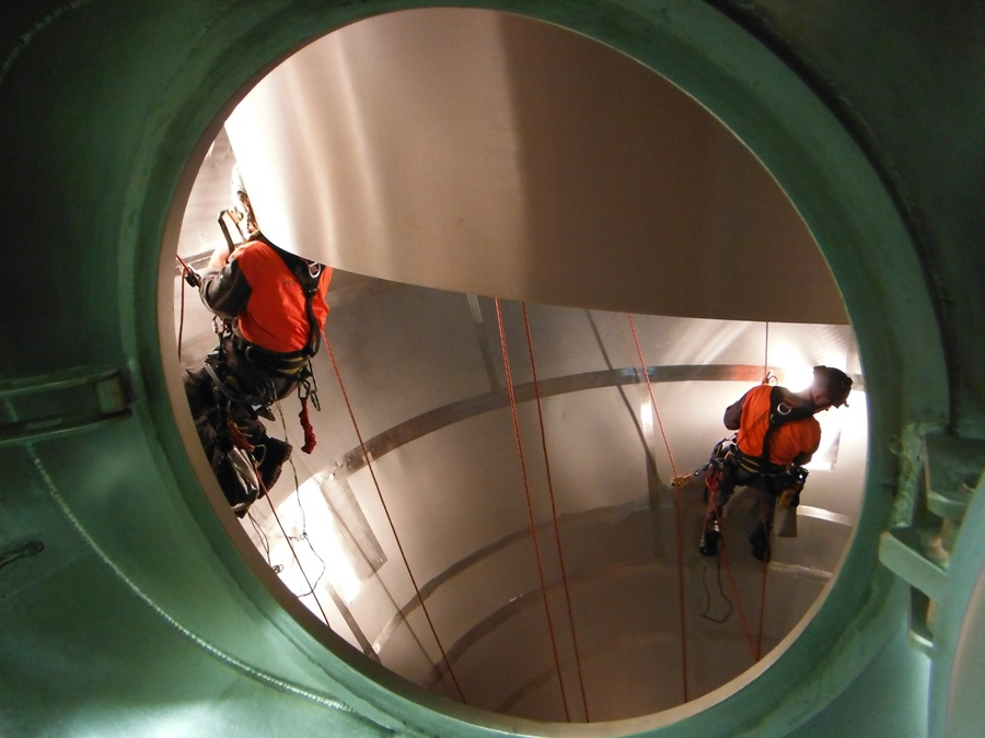 Inspection of the conical section of a powder dryer